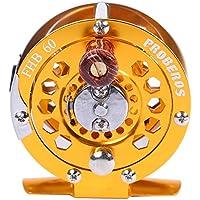 Wenquan,Full Metal Fly Fishing Carrete Diámetro de la Rueda 60MM(Color:Dorado)