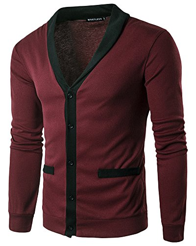 Herren Leicht V-Ausschnitt Jacke Pullover Lange Ärmel Single Breasted Strickjacke Rot S