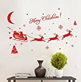 Vovotrade 2016 Christmas Hot Sale !!!Christmas Decoration Decal Window Stickers Home Decor 43*70CM (Red)