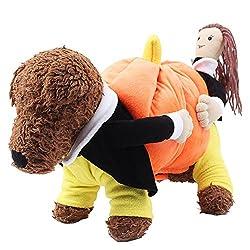 BRLMALL Halloween Party Dog Costume Jacket Pumpkin Dog Clothes Pet Coat Fleece Funny Pet Clothes