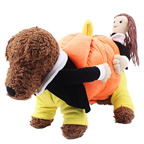 BRLMALL Halloween Dog Costume Jacket Pumpkin Dog Clothes Pet Coat Fleece Funny Pet Clothes