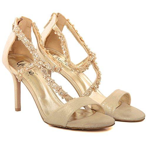 Schuhe Neue Peep Größen Frauen Hochzeit Gigi 3 Unze High Toe Verschönerte Mid 8 6 Fee1020 damen Party Prom Gold Ferse 'diamante Abend fYZqqwd