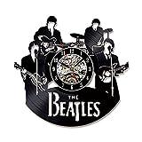 BiuTeFang Wanduhr Schallplatten Vinyl Beatles 3D Schwarz Glue Record Uhr Musikinstrument Modellierung Kreative Home Vinyl Retro-Stil Wanduhr