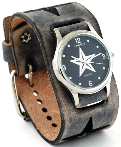 Nemesis #KST355K Women's Star Watch with Wide Cuff Leather Embossed Star Icon Band