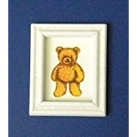 12th Scale Dolls House Nursery Accessory - Teddy Picture in White Frame