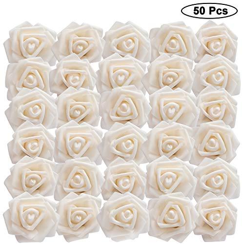 Rosas Artificiales (50 Piezas) - Flores Espuma Crema con Tallo (18,5cm)- Rosas...