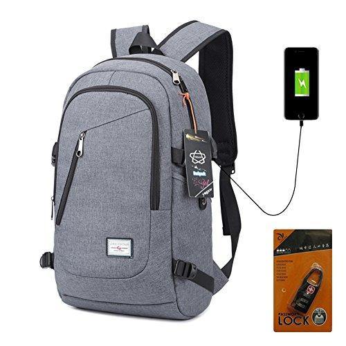 Yogaw Laptop Rucksäcke bis zu 15,6 Zoll Leichte Tagesrucksäcke für Schul Geschäft Mehrzweck Backpack haben USB Kabel und Ladeanschluss – Grau (Ticket-notebook)
