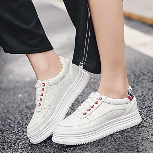 Aisun Femme Mode Basses à Lacets Semelle Epaisse Baskets Blanc