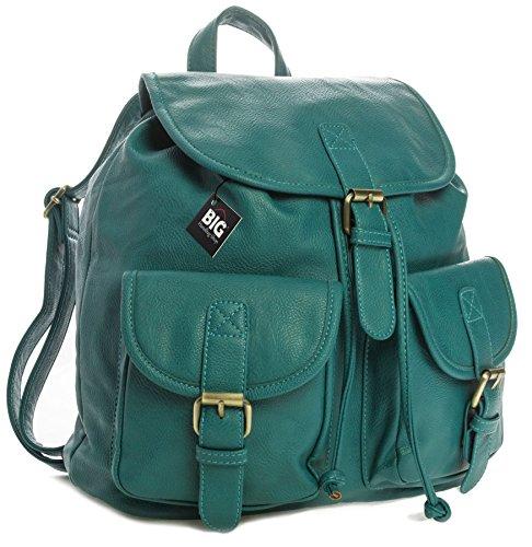 Big Handbag Shop - Zainetto da viaggio in pelle sintetica, stile vintage/casual, unisex Turquoise (FZ573)