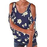 VEMOW Bluse Elegante Damen Kurzarm Carmen Shirt Schulterfrei Tops Sommer Lässige Daily Party Workout Lose Blumenmuster Runde Hals(Marine 2, EU-46/CN-2XL)