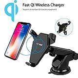 Qi 2-in-1-Schnelle WLAN KFZ-Ladegerät (10W) mit Air Vent & Armaturenbrett Halterung, 360° Grad drehbar, schnell Ladegerät für iPhone 8/8Plus/iPhone X, Samsung S8/S8Plus/S7/S7Edge/S6/S6Edge/S6Edge Plus