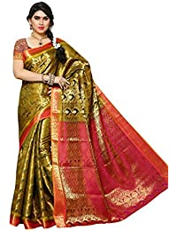 Mimosa Women's Silk Saree With Blouse Piece (131-Olv-Rni,Olive,Free Size)