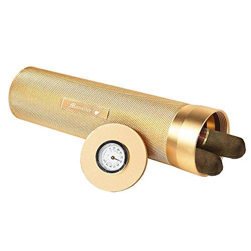Monsiter Umidificatore a tubo di sigaretta con cassa sigaretta da viaggio per umidificatore per 3-4 sigari-oro