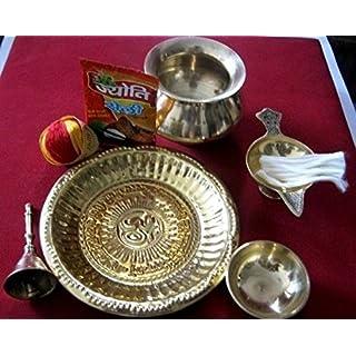Artcollectibles India Brass Hindu Puja Thali With Accessories For Diwali Puja/ Havan/ Religious Prayer/ Hindu Rituals Pooja Puja Festive Thali Temple