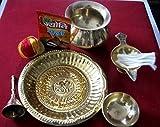artcollectibles Indien Messing Hindu Puja Thali mit Zubehör für Diwali Puja/HAVAN/Religiöse Gebet/Hindu Rituale Räucherstäbchen Pooja Puja Festive Thali Tempel