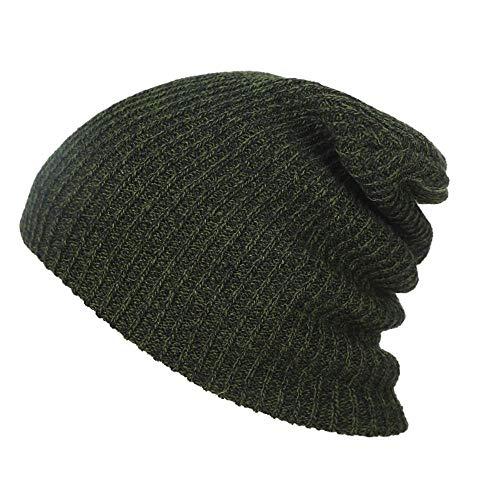 Fat Mashroom Winter Hüte für Männer Frauen Stricken lässige Mütze häkeln Baggy Beanie Ski Slouchy Chic Strickmütze Schädel Herbst Hut für Mädchen Jungen New, ArmyGreen Cap -