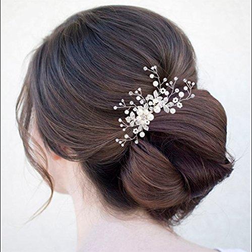 Clearine Damen Künstliche Perlen Kristall Blume Handarbeit DIY Braut Hochzeit Haarkamm Haarschmuck Ivory-farbe - 3