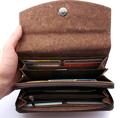 ECOVE - hochwertige und elegante Kork Damengeldbörse, Portemonnaie, Cork Geldbörse mit über 14 Fächern, Größe: 20cmx11cm - 4