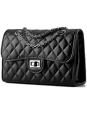 Young & Ming - Donna Borsa a Handbag spalla Borsa Tote Borsa a Mano in pelle di forma del diamante con catena...