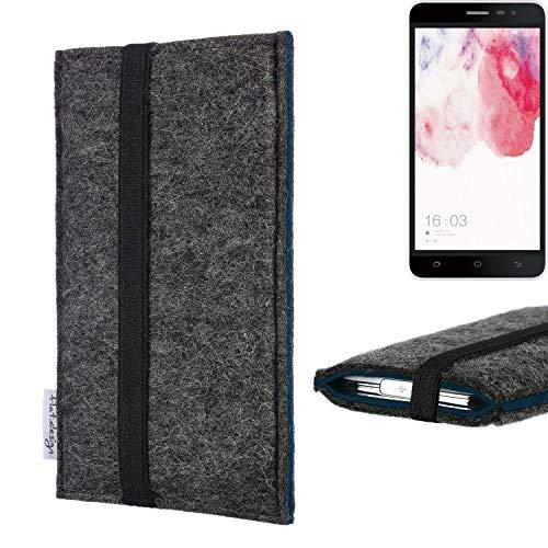 flat.design Handyhülle Lagoa für Hisense F20 Dual-SIM | Farbe: anthrazit/blau | Smartphone-Tasche aus Filz | Handy Schutzhülle| Handytasche Made in Germany