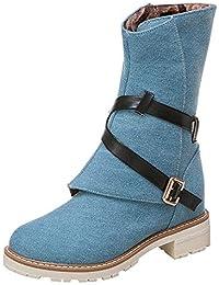 477e34d2613f9 ALIKEEY Mujeres Cuñas Botines Medio Tubo Lienzo Botas Zapatos Hebilla Correa  Arranque Doradas con Alto Playa