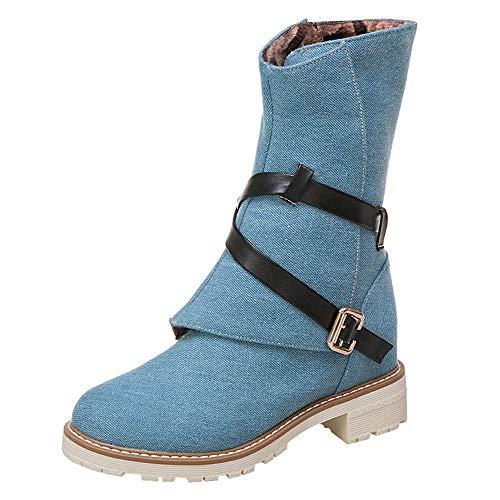 (MYMYG Frauen Wedges Booties Middle Tube Leder Stiefel Schuhe Schnalle Boot Leinwand Halbschaft Stiefel Stiefeletten Biker Boots Übergrößen)