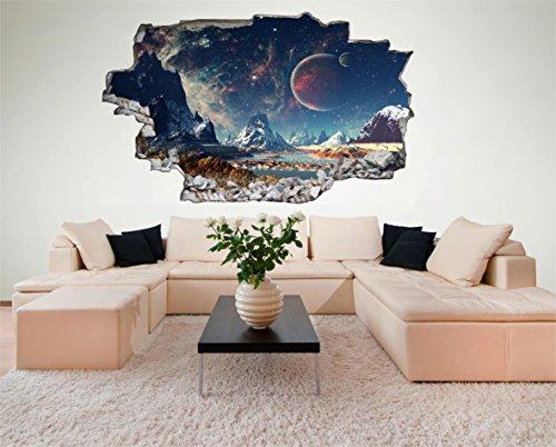 Weltraum Erde Space Weltall Galaxy Planeten 3D Look Wandtattoo 70 x 115 cm Wand Durchbruch Wandbild Sticker Aufkleber DesFoli © C230