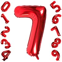 40 Inch Large Red Number 0-9 Balloons,Foil Helium Digital Balloons for Birthday Anniversary Party Festival Decorations