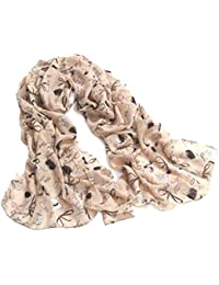 Demarkt Jolie Foulard Echarpe Imprimé Chaussures à Talons Hauts -160*55CM - Chiffon Soie pour Femme- Couleur Kaki