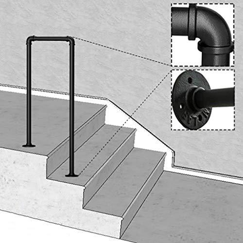 YFF-Handläufe Matt-schwarz 2-Schritt Eingangsgeländer Handlauf Geländer Schmiedeeisen Treppengeländer Aussengarten Sicherheitsstütze für ältere Menschen