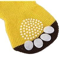 RUNFON 4pcs calcetines de perro Calcetines antideslizantes para animales de compagnie-35* 90mm amarillo
