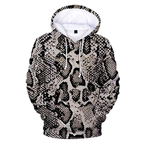 MOTOCO Pullover Herren Leopard Hoodie Lässige Schlangenmuster Mode Tiger Langarm Pullover Vordertasche Übergröße(L,Grau)
