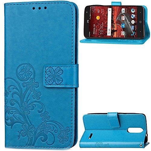 EKINHUI Case Cover Double Magnetic Back Sucktion Retro Style PU Leder Flip Stand Case mit Kickstand und Wallet Beutel Funktion für ZTE X4 ( Color : Rose ) Blue