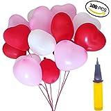100 Herzluftballons Hochzeit Rosa Rot Weiße Herzform Luftballons Mit Ballpumpe Ballons Hochzeit Valentinstag Komplettset Herz Ballons Party Zubehör Dekorationen