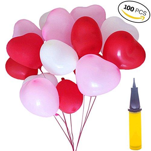 100 Herzluftballons Hochzeit Rosa Rot Weiße Herzform Luftballons Mit Ballpumpe Ballons Hochzeit Valentinstag Komplettset Herz Ballons Party Zubehör Dekorationen (Valentinstag Zubehör)