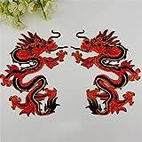 DaoRier Chinesische Art Rot Drache Tuch Aufkleber Applikation Stickerei Aufkleber DIY Bestickte Aufnäher für Kleidung Jeans