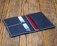Blu porta-passaporto di pelle, documenti di viaggio con tasche e carte