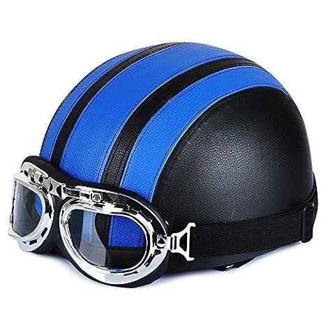 Casque Moto Retro Bleu - Annong Casque de Moto et Velo Bol
