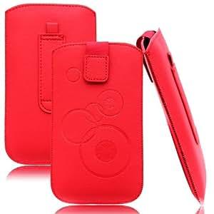 Slim Case Rot für Alcatel OneTouch POP C7 Tasche Ledertasche Handytasche Leder Kunstleder Schutz Hülle Schutzhülle Gürteltasche Schlaufe Gürtelschlaufe Seitentasche Etui Holster