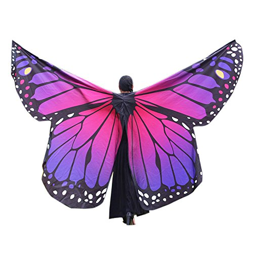TEBAISE Schmetterling Kostüm Frauen Soft Fabric Flügel Schals Butterfly Wings Shawl Fairy Ladies Nymph Pixie Poncho Accessory Umhänge Zubehör Für Karneval Show Fasnacht Daily Party ()