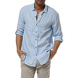 Najia Symbol Casual Camisa para Hombre Manga Larga 100% Lino Shirt (L/ES 50-52, Azul)
