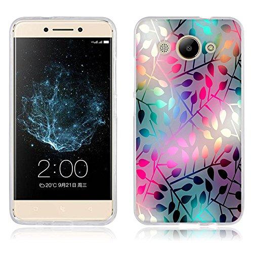 FUBAODA, Hülle für Huawei Y3 2017, Ultra Dünn Soft Silikon Schutzhülle, Elegantes Kunstdesign [Halbtransparente Glasblume] Hochwertige Gummi Schutzhüllen, Handyhülle für Huawei Y3 2017 (5.0