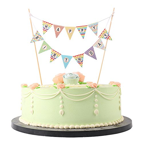 LXZS-BH Mini Happy Birthday Cake Topper Banner - Party Kuchen Dekoration Supplies Bunt