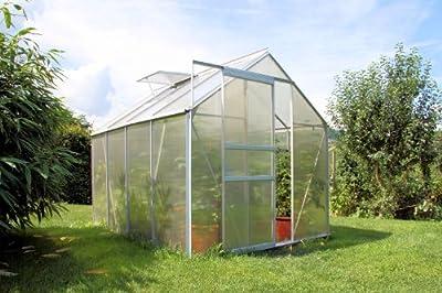 Zelsius® - 4,75m² Aluminium Gewächshaus, Garten Treibhaus, 6 mm Hohlkammerstegplatten, inkl. Stahl-Fundament-Rahmen von Zelsius auf Du und dein Garten