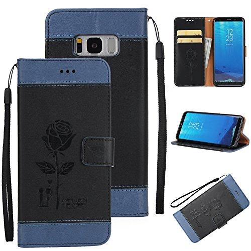 Ecoway Para Samsung Galaxy S8 Plus Funda, Amantes de Rosa(Negro) PU Leather Cubierta , Función de Soporte Billetera con Tapa para Tarjetas Soporte para Teléfono