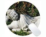 Yanteng Life Quotes Gaming Round Mouse Pad, Buddha Oggi Non Cammina, dovrà Correre Domani Intorno ai tappetini per Mouse