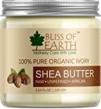 Bliss of Earth™ 100% Pure Organic Ivory Shea Butter | Raw | Unrefined | African | 100GM | Great For Face, Skin, Body, Lips, DIY products|