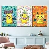 NVSHENY-LOVED wanddekor Drucke Wohnkultur Leinwand Malerei 3 Stücke Anime Pikachu Tasche Monster Videospiel Wand Kunstwerk Kinderzimmer Modulare Bilder Poster