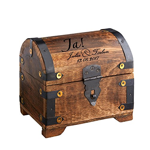 Geld-Schatztruhe zur Hochzeit aus dunklem Holz mit individueller Gravur - für das Geldgeschenk zur Hochzeit - Schmuck-Kästchen mit [Wunschname] und [Datum] - Hochzeitsgeschenk - Motiv JA-Wort