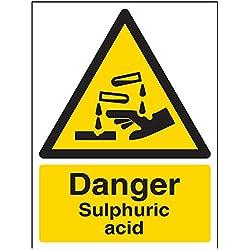 """vsafety 6a038an-r""""peligro ácido sulfúrico"""" ADVERTENCIA sustancia y químicos señal, plástico rígido, vertical, 150mm x 200mm), color negro/amarillo"""